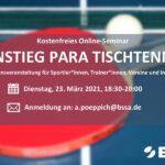 """Einladung zum Online-Seminar """"Einstieg Para Tischtennis"""""""