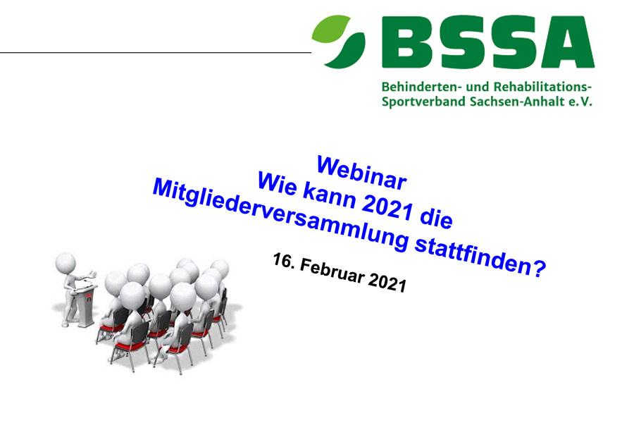 """BSSA-Online Seminar """"Mitgliederversammlung 2021: Rechtssichere Planung und Durchführung"""""""