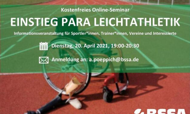 """Einladung zum Online-Seminar """"Einstieg Para Leichtathletik"""""""