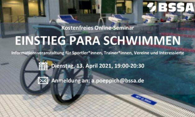 """Einladung zum Online-Seminar """"Einstieg Para Schwimmen"""""""