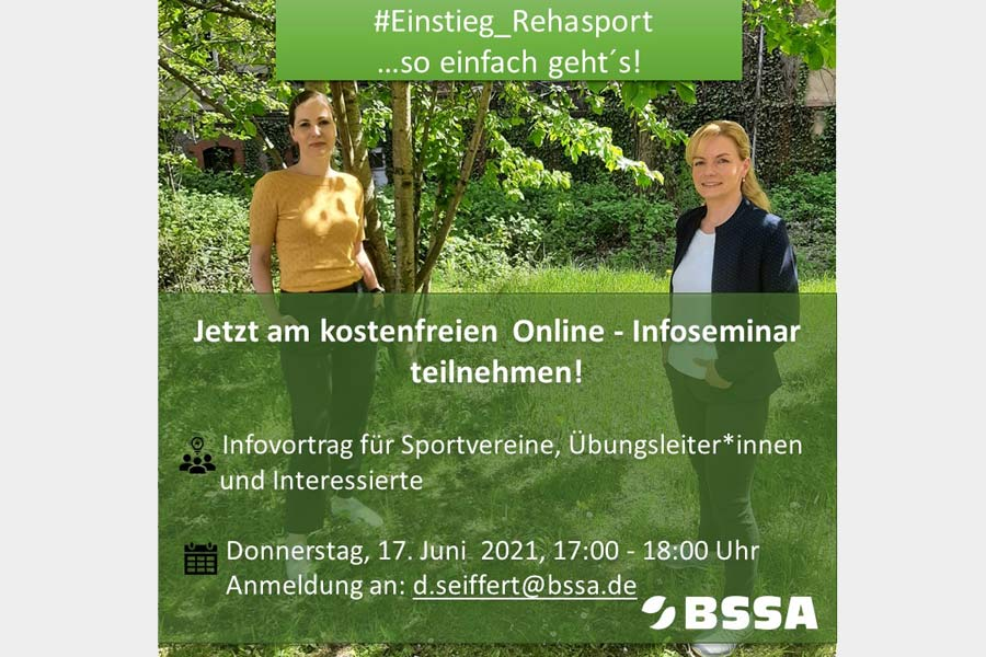 #Einstieg_Rehasport: Neues Online-Seminar des BSSA